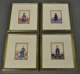 Four Framed And Matted Hand-painted Chinese Silk
