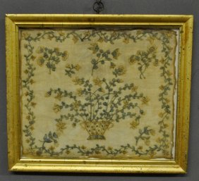 Silk On Linen Needlework Of A Basket Of Flowers, 19th