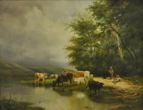 Oil On Canvas Painting Of Cows In A Stream, Signed L.r.