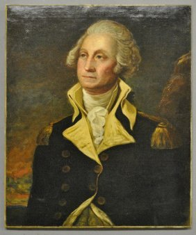 Unframed Oil On Canvas Portrait Of General George