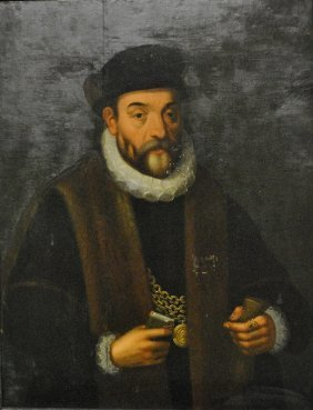 Oil On Panel Portrait Of A European King, Possibly