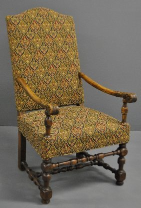 Flemish Walnut Open Armchair, Probably 17th C., With