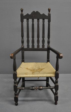 New England Maple Bannister-back Open Armchair With