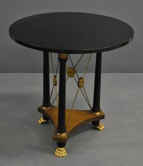 Empire Style Black Round Table With A Glass Top.