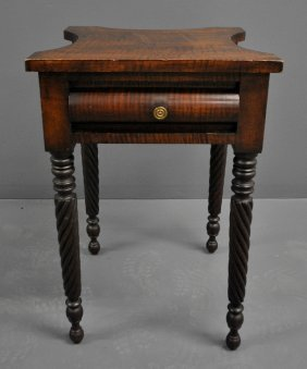 American Sheraton Tiger Maple One-drawer Stand, C.1840.