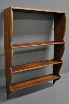 Mahogany Three-tiered Dovetailed Wall Shelf.