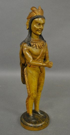 """Carved Indian Countertop Cigar Figure, C.1900. 19.5""""h."""