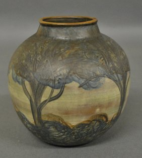 Art Pottery Vase, C.1920, Decorated With Flowering