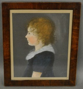 American Pastel Portrait Of A Girl, Early 19th C.,