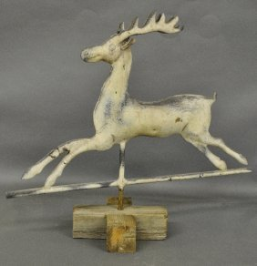 Molded Copper Leaping Stag Weathervane, 19th C., With