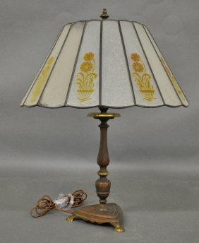 Handel Brass Lamp, Unsigned, With A Frosted Glass Shade
