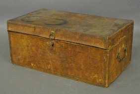 "Leather Storage Box With Original Label ""geo. Fred K."