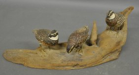 Three Carved Quails On A Driftwood Base Probably By