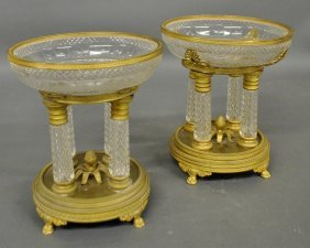 Fine Pair Of French Crystal And Fire Gilt Centerpiece