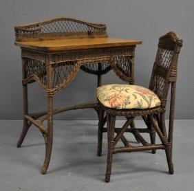 Oak And Wicker Desk By Heywood-wakefield,