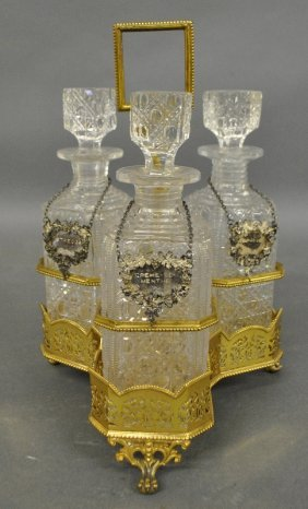 English Gold Wash Over Plate Decanter Stand With Three