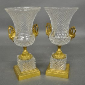 Pair Of French Crystal And Gilt Metal Urns, 20th C.