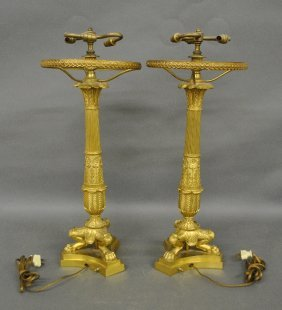 Monumental Pair Of French Fire Gilt Lamps, 20th C.,
