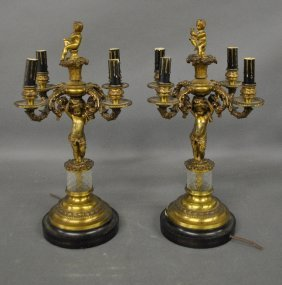 Pair Of French Gilt Metal Four-light Candelabra,