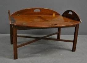 "Chippendale Style Mahogany Butler's Tray Table. 17""h.,"