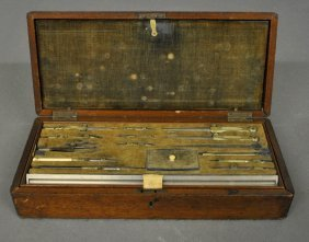 Mahogany Cased Drafting Set With A Brass Inlaid Oval