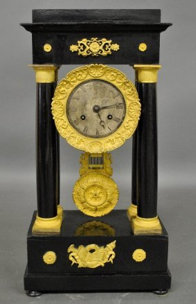 French Portico Clock, Late 19th C., With Ormolu Mounts.