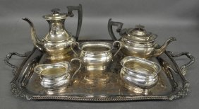 English Silver Five-piece Tea Service, Tallest Piece