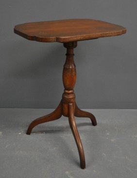 """New England Federal Cherry Candle Stand, C.1800. 28""""h.,"""
