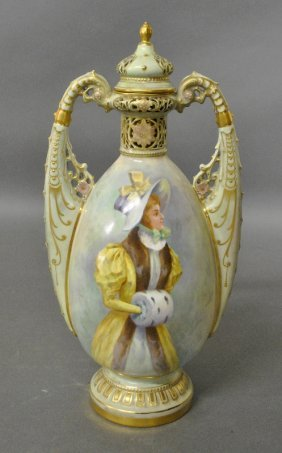 Victorian Porcelain Covered Vase By Bailey Banks &