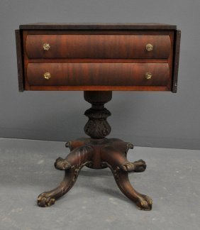 Empire Revival Mahogany Two-drawer Work Table.