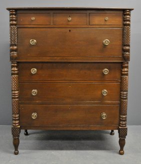 Sheraton Cherry Tall Chest, C.1830, Probably Kentucky