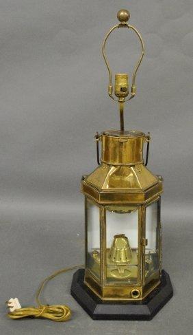 "Brass Ship Lantern With Custom Lamp Base. 29""h.x10.75""w"