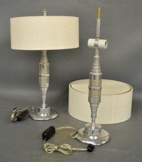 "Pair Of Aluminum Art Deco Table Lamps. 23""h."