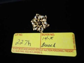 14k Brooch With Painted Flowers