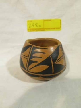 Native American Style Pottery Orange And Black Designs,