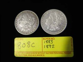 1883 And 1892 Morgan Dollars