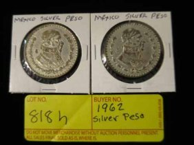 (2) 1962 Mexican Pesos