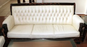 Solid Wood Frame Sofa With White Leather Upholstey