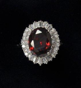 Garnet And White Topaz Estate Ring Set In Sterling