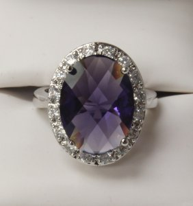 4 Ct. Amethyst Dinner Ring Set In Sterling Silver.