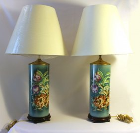 Pair Of Porcelain Lamps With Shades