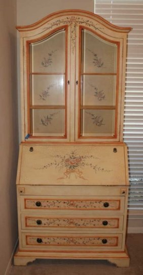 Hand Painted Secretary With Beveled Glass Doors