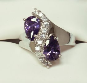 Double Amethyst Dinner Ring Set In Sterling Silver
