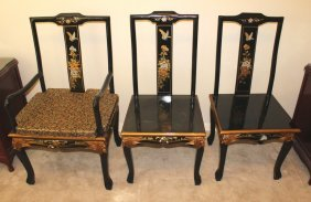 Set Of Three Black Lacquered Hand Painted Chairs