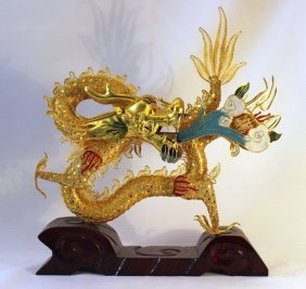 Gilded Enamel Wire Dragon Sculpture On Base