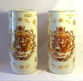 Pair Of Tall Hand Painted Cylinder Vases