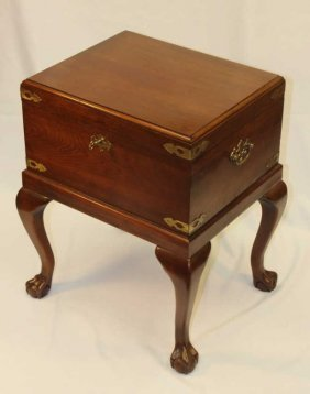 Lockable Vintage English Chest On Four Legs