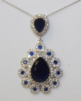 8.50 Ct. Blue And White Sapphire Cartier Style Nec