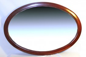 Oval Mirror With Rosewood Frame