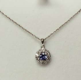 Tanzanite Halo Necklace Set In Sterling Silver.